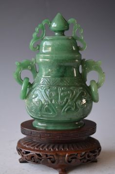 Chinese Carved Green Jade Lidded Vase  Wood Stand
