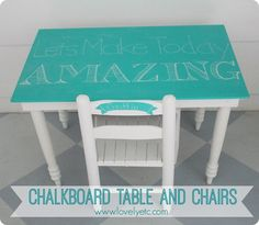 Adorable chalkboard table and chairs for a child
