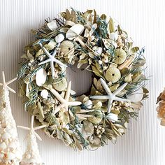 shell, boutiques, coastal theme, christmas, beach theme, holidays, starfish wreath, beach christma, coastal holiday