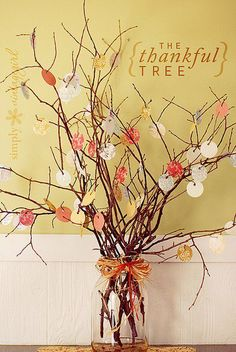 The Thankful Tree Acorns and a better bow #holidayentertaining #thanksgiving #givingthanks #november #holidays #thanksgivingideas #thanksgivingcrafts #thankful #thanks #thanksgivingrecipes www.gmichaelsalon... #diy #crafting #recipes #forthehome #holidaydecorating #holidaydecor #harvest #autumn