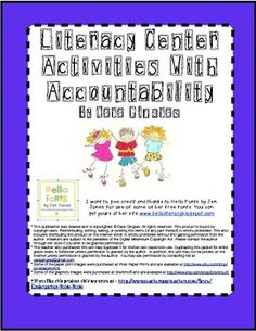 Literacy Center Activities with Accountability - This is a pack of 27 different literacy centers. It includes; Listening Center, Word Wall Center, Reading Center, Art Center, Word Work Center/Building Words Center. There are instructions and tips for each activity. $