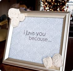 i love this idea! use dry erase markers to write on a picture frame, and have a coordinating message on scrapbook paper behind the glass.