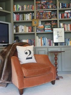 love the gray bookcase - (paint color: benjamin moore - equestrian gray)