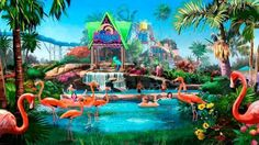 San Diego - Sea World's new water park in summer 2013.  While SeaWorld San Diego has yet to announce any planned upgrades, concept art suggests flamingos may be incorporated into the signature animal interaction water slide at the new Aquatica water park.