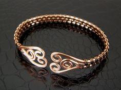 bronze, wire wrapped bracelet tutorial, bracelets, wire weav, spiral wire