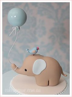 Elephant cake, baby shower, boy clay sculptures, baby shower cakes, shower themes, polym clay, balloons, polymer clay, cake baby, april showers, baby showers
