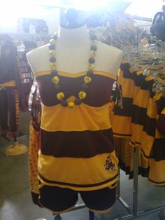 Stripe maroon and gold tube top