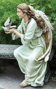 "RINC 62463: 16"" Joseph's Studio Memorial Seated Angel Figure with Dove"