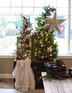 Christmas tree forest in a crate, with a star theme, via www.funkyjunkinte...