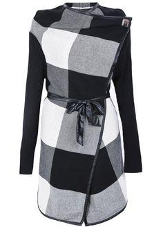Black White Plaid Long Sleeve Belt Coat