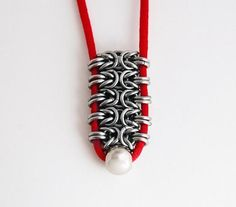 Talisman red chainmail pendant by Miralgaar via Etsy