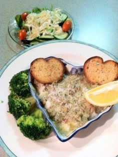 For seafood lovers, Baked Bay Scallops Gratin.