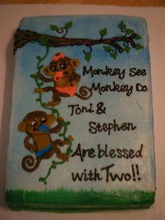 Twin baby shower cake ~ I made