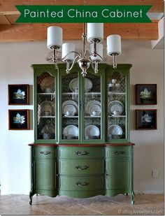 idea, green china, china cabinets, milk paint, china hutch, paint furnitur, paint colors, mustard seeds, furnitur paint