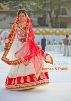 red and white bridal lehenga.  Indian wedding clothes @Chamee and Palak