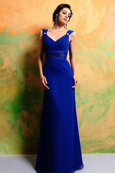 V-neck A-line with beading chiffon bridesmaid dress