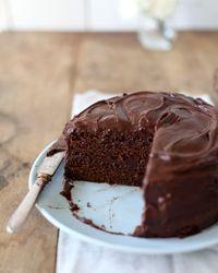 Mom's Chocolate Cake ---2 cups all-purpose flour 2 teaspoons baking powder 2 teaspoons baking soda 1 teaspoon salt 2 cups sugar 4 ounces unsweetened chocolate 6 tablespoons unsalted butter 1 teaspoon pure vanilla extract 2 eggs, lightly beaten