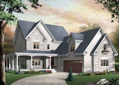 Elevation of Country   House Plan 65475