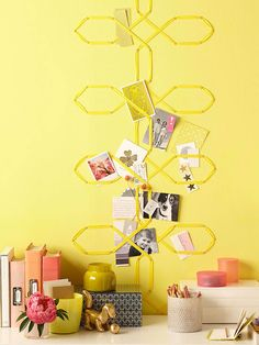With just bias tape, pushpins, and a few basic tools, you can weave this trellis-like bulletin board: http://www.bhg.com/decorating/do-it-yourself/accents/easy-weekend-decorating-projects/?socsrc=bhgpin052214weaveamemoboard&page=9