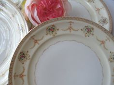 Vintage Meito China Vivian Pink Gold Floral Dinner by thechinagirl