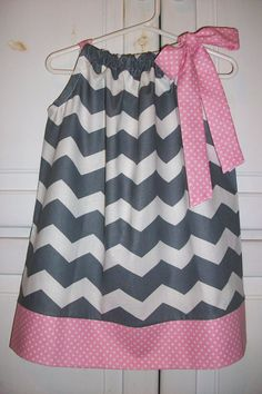 Pillowcase Dress CHEVRON Grey with Pink Dots by lilsweetieboutique, $20.00