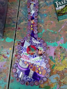 SOLD Folk Artist Alan Moore's custom vintage soda can and bottle cap guitar folk art SOLD