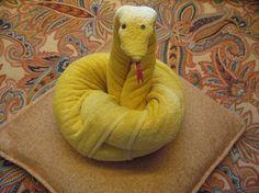 Towel Animal Snake. Discover how to make towel origami at: http://FoldingMagic.com towel art, towel animals how to, towel origami, towel fold, anim snake