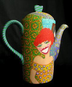 Retrolady teapot by Wanda Shum
