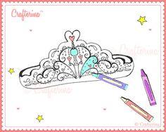 Printable Color & Create Tiara Kit  PDF  DIY  by Crafterina, $2.50  www.Crafterina.Etsy.com