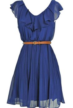 Katrina Ruffle Contrast Belted Dress in Blue