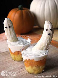 Candy Corn Parfaits with Banana Ghosts #Halloween #Kids #eggfree #nutfree #vegetarian #glutenfree #soyfree