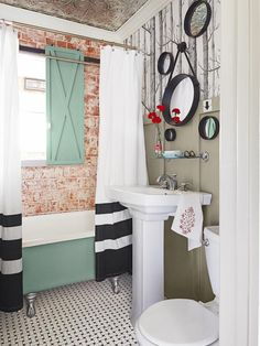 Bathroom - House Tour: Black, White and Red All Over on HGTV
