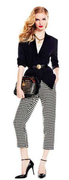 Plaid pants, black blazer with belt