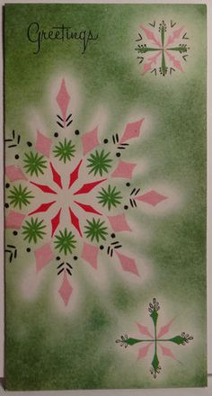1950s Pink and green snowflakes.