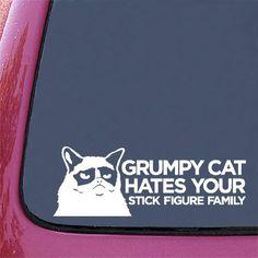 """Grumpy Cat - """"Grumpy Cat HATES Your Stick Figure Family"""" Car Vinyl Decal Sticker - (10""""w x 3.5""""h) by Yadda-Yadda Design Co., http://www.amazon.com/dp/B00D5N0USG/ref=cm_sw_r_pi_dp_RwT-rb1E2DM4K"""