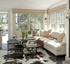 interior, living rooms, couch, window, dutch doors, family rooms, cowhide rugs, cozy spaces, sunroom