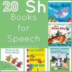 A list of picture books for young children working on speech sounds (sh).  A small summary of each book and the target words are included in this review of 20 books with 'sh' at the beginning and ends of words.