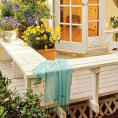 Bench Border  If your deck is low enough not to require a railing, build a bench around the perimeter to provide seating and a sense of enclosure.This bench wraps two sides of the deck, but you could build a smaller version on just one side using leftover deck boards for the seat and pressure-treated 26s (about $5 for an 8-foot board; at home centers) for the supporting structure.