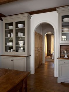 Simple, cool tones... lovely built-ins. Barbara Westbrook.