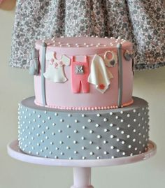 Cute cake from a Pink and Gray Baby Shower via Kara's Party Ideas KarasPartyIdeas.com Cake, printables, favors, invitation, recipes, cupcakes, etc! #babyshower #pinkandgray #girlbabyshower #cake