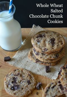 Salted Whole Wheat Chocolate Chunk Cookies with Toffee, not healthy but yummy...