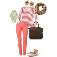 Coral 'n Floral by mmmorman on Polyvore