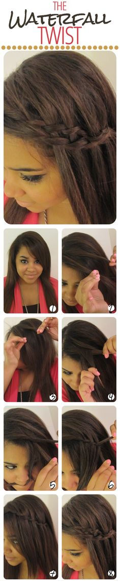 The Waterfall Twist - way easier than the waterfall braid to do on yourself - takes only 30 seconds and looks gorgeous.