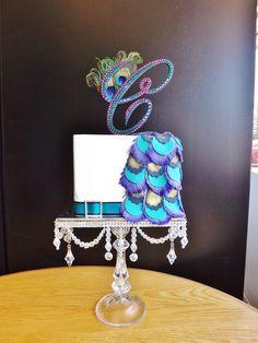 Rhinestone Peacock Theme Wedding Cake Topper Monogram via Etsy
