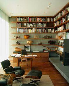 duboi architect, interior, floating shelves, retro office, reading books, corner shelves, office lounge
