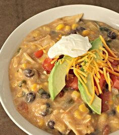 Slow Cooker Creamy Chicken Fajita Soup# slow cooker healthy recipes