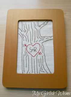 Tree Embroidery with Carved Initials