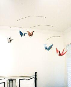 Grullas colgadas en el techo #origami