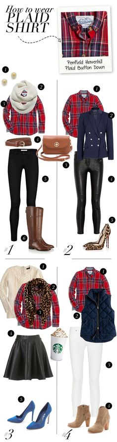 Look #1: 1. Tory Burch Pearl Earrings // 2. J Brand Scarf (get the look here) // 3. Penfield Plaid Shirt // 4. Lauren by Ralph Lauren Belt /...