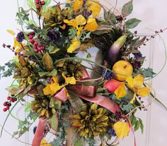Large Fall and Summer Door Wreath All In One by http://www.LadybugWreaths.com, $129.97